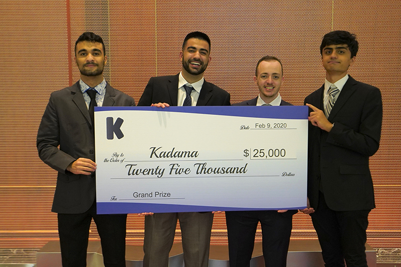 Kadama team holding up a $25,000 check for completing the University of Washington Foster Jones Accelerator